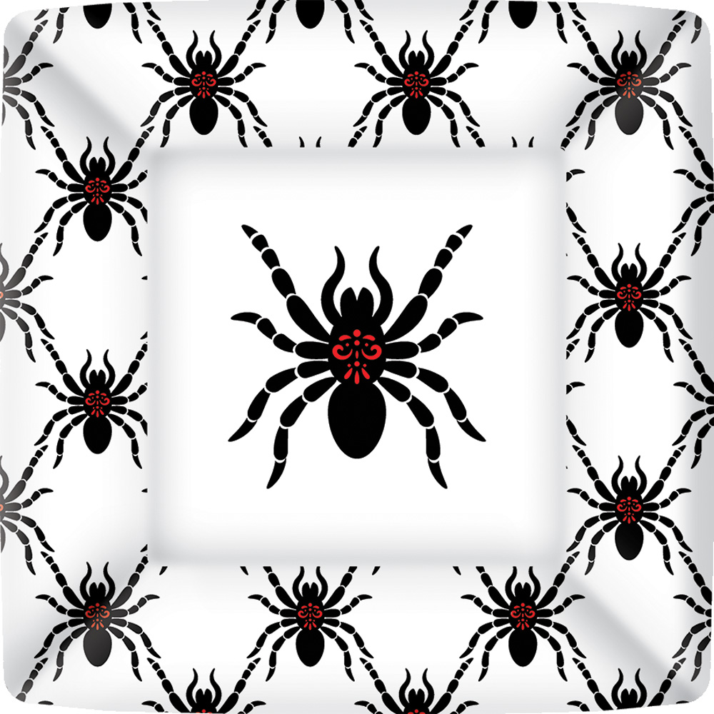 Rosanne Beck - Black Spiders Square Paper Dinner Plate  sc 1 st  Boston International : black paper plates 100 - pezcame.com