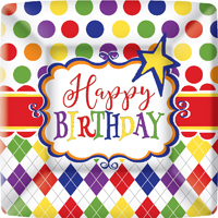 Birthday Party Fun Square Paper Dessert Plate