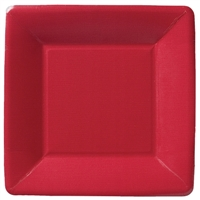 Classic Linen Red Square Paper Dessert Plate