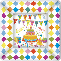 Birthday Cakes Square Paper Dessert Plate