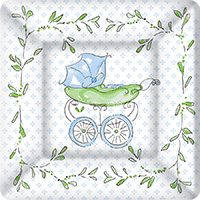 Rosanne Beck Blue Baby Carriage Square Paper Dessert Plate
