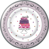 Fancy Cake Round Paper Dinner Plate