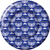 Festival of Lights Blue Round Paper Dinner Plate