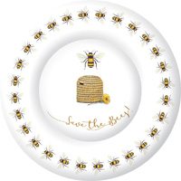 Save the Bees White Round Paper Dinner Plate