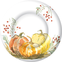 Painted Pumpkin Round Paper Dinner Plate