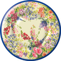 Bouquet of Flowers Round Paper Dessert Plate