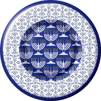 Festival of Lights Blue Round Paper Dessert Plate