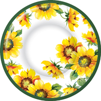 Colourful Sunflower Round Dessert Plate