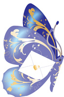 Special Delivery Indigo Butterfly 3D Card