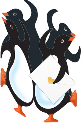 Special Delivery Party Penguins 3D Card