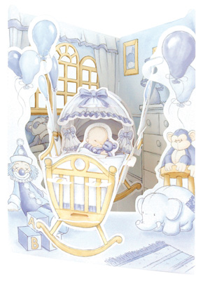 Santoro Baby Boy Cradle Display Swing Card