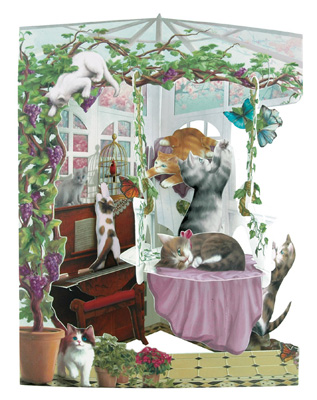 Santoro Cats in Conservatory Swing Card