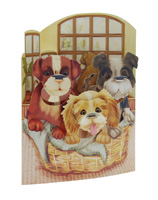 Santoro 3 Puppies in a Basket Display Swing Card