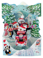 SANTORO - SLEDING PENGUINS SWING CARD