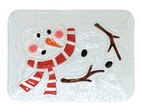 Melted Snowman Glass Plate