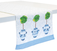 Blue Topiary Table Runner