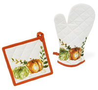 Pumpkin Harvest Oven Mitt & Pot Holder Set