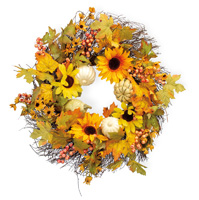 Sunflower & Gourds Wreath