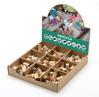 Woodies Animals Mini Stamp Set with Display