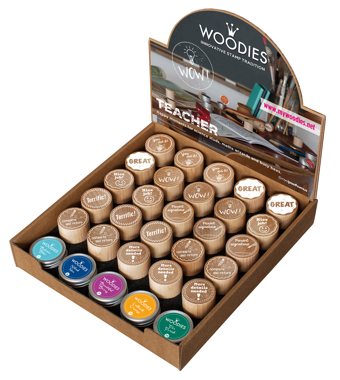 Woodies Teacher Stamp Inkpad Set With Display