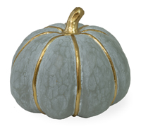 Grey & Gold Striped Large Pumpkin