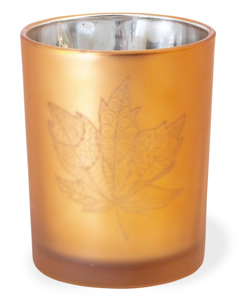 Pheasant Field Large Copper Glass Leaf Tealight Holder