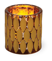 Indian Summer Glass Tealight Amber & Copper