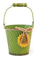 Basketweave Green Pail