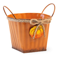 Orange Pail with Pumpkin Accent