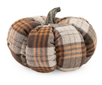 Large Plush Brown Plaid Pumpkin