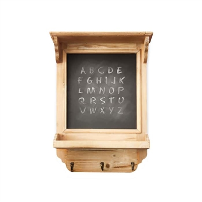 Wooden Chalk Board with Hanging Hooks