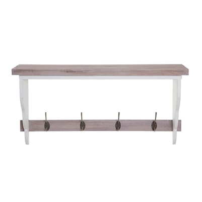 Wooden Shelf with Hanging Hooks