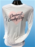 LS Ladies Tee white with pinks heart