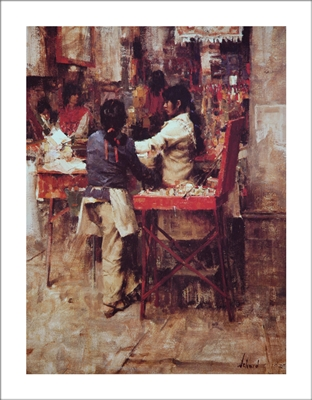 Indian Market Lithograph By Richard Schmid