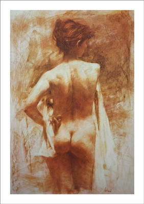 Standing Nude Lithograph By Richard Schmid