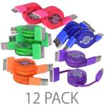 (12-pack) 2' Atomic Micro Retractable Usb To 30-pin Dock Connectorcharge & Sync Cable For Ipad, Iphone & Ipod