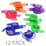 (12-pack) 2' Atomic Micro Retractable Usb 2.0 A (m) To Micro Usb(m) Charge & Sync Cable (assorted Colors)