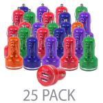(25-pack) Atomic Micro 3.1a 15.5w Dual Port Usb Car Charger(assorted Colors) - Perfect For Charging Phones And Tablets!