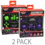 "(2-pack) Sky Rider Micro Quadcopter Drone (1.25"""") W/led Lights &flip - 2.4ghz 4-ch/6-axis Remote Control (purple/green)"