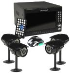 "First Alert Hs-4700-s 4-channel 320gb Dvr Wired Security Systemw/built-in 7"""" Lcd & 4 400tvl Indoor/outdoor Ir Cameras"
