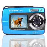 "Polaroid Waterproof Camera If045-blu 14mp 5x Digital Zoom W/1.8""""front & 2.7"""" Rear Displays (blue)"