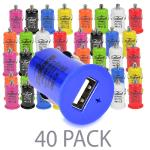 (40-pack) Zipkord 1.0a 5w Single Port Usb Car Charger (assortedcolors) - Perfect For Charging Phones!