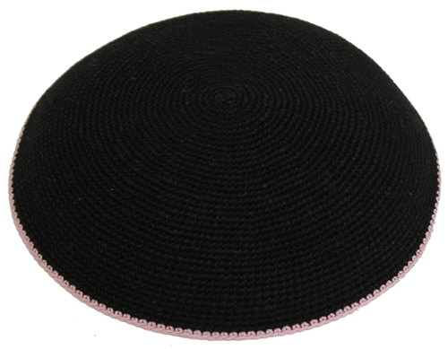 Knit Kippah Black/Pink