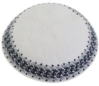 DMC Knit Kippot White Large With Design