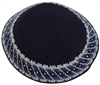 DMC Knit Kippot Navy Medium With Design