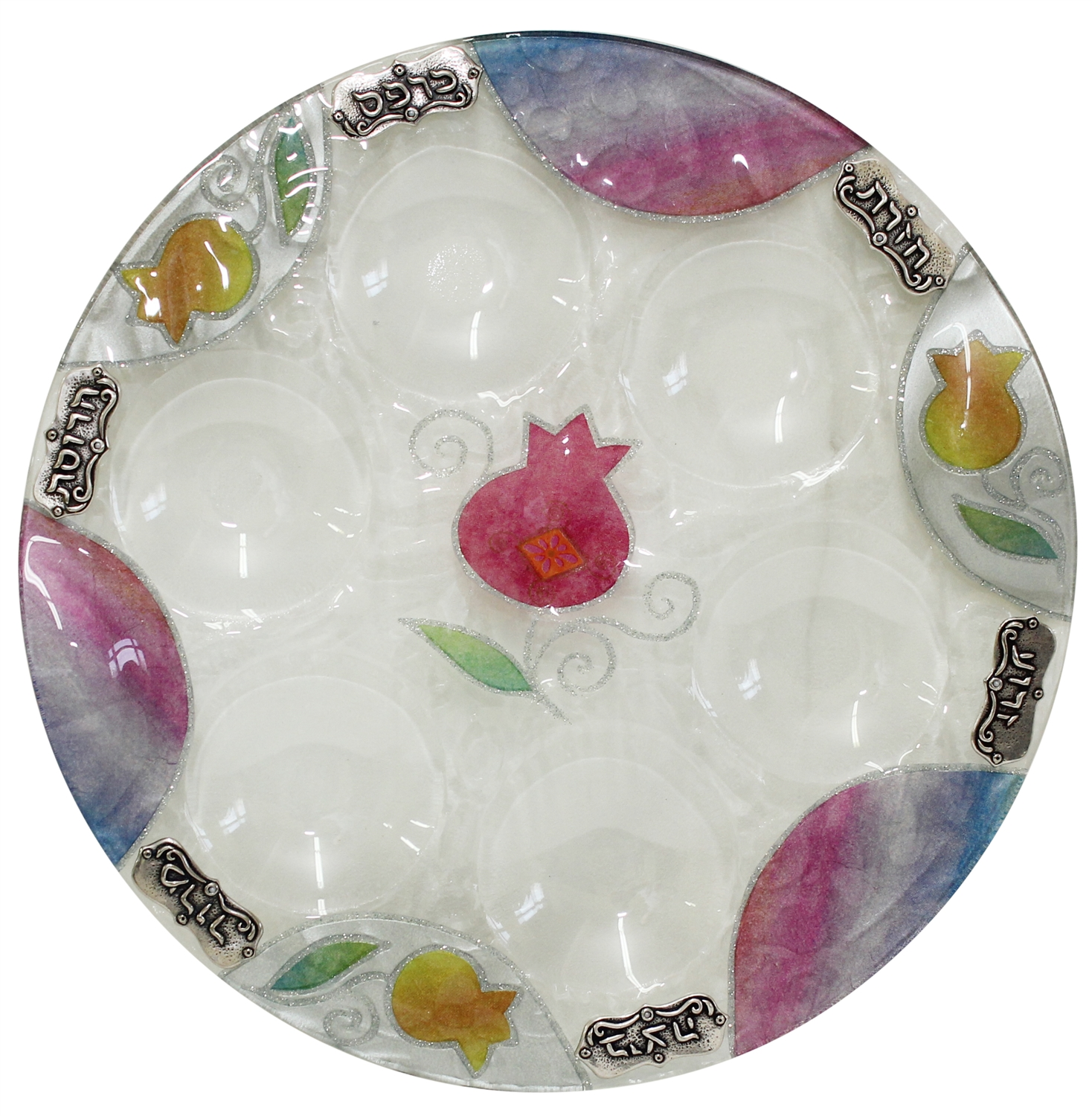 Lily Art Glass Seder Plate