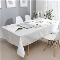 Jacquard Tablecloth #1311 White/Silver -  Prepackaged Tablecloths