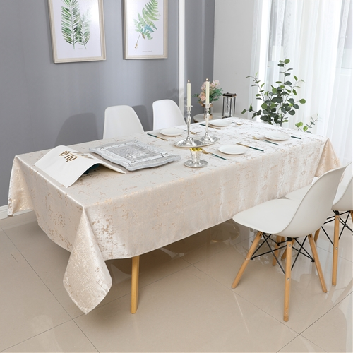 Jacquard Tablecloth #1312 White/Gold -  Prepackaged Tablecloths