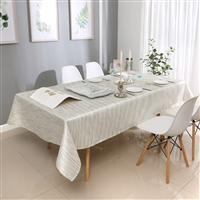 Jacquard Tablecloth #1313 White/Silver -  Prepackaged Tablecloths