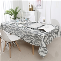 Jacquard Tablecloth #1315 White/Silver -  Prepackaged Tablecloths
